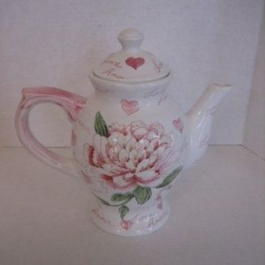 Amour Pink/White Love/Floral Ceramic Tea/Coffeepot